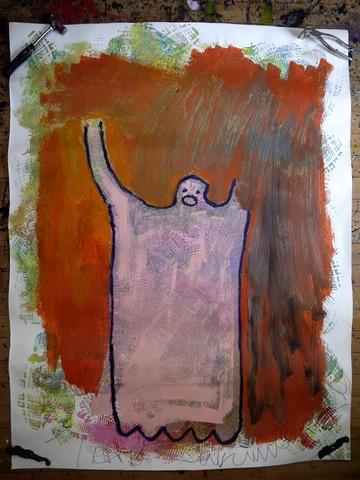 (20120320サンダルスタンプの上に加筆、人型)水彩紙150×115cm