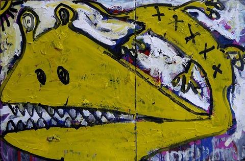 「春の蜥蜴」カンバス72.7×110.6cm20190128
