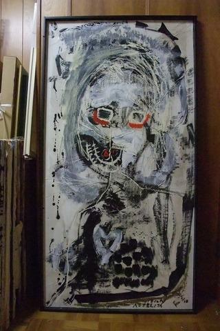 2F西8「恐ろしい女」138×70cm 書道紙20060622