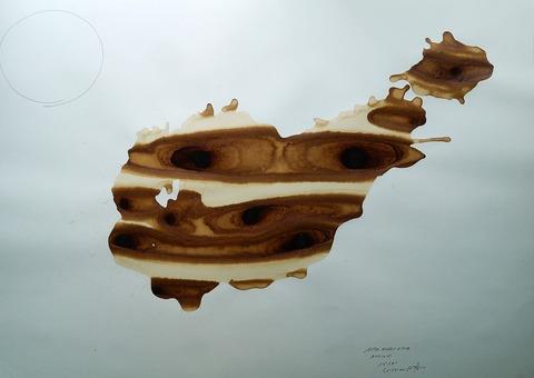 「鮟鱇」水彩紙、コーヒー、インク77.2×108.9㎝20210714