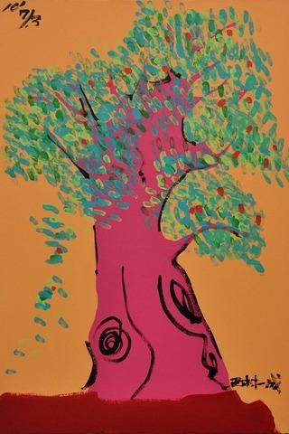 2F西2下左M3020100703「木(赤)」アクリル、オイル