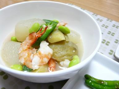 夏野菜とえびの利休煮