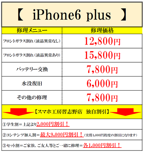iPhone6plus修理価格