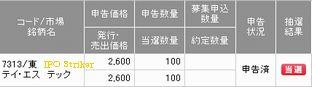 IPO 新規公開株 IPO TS TECH 当選