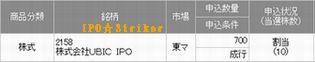 IPO 新規公開株 IPO:UBIC 当選