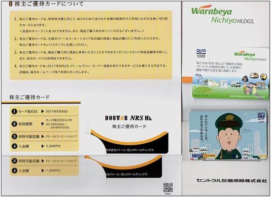 株主優待:ドトール日レス わらべや日洋 セントラル警備保障