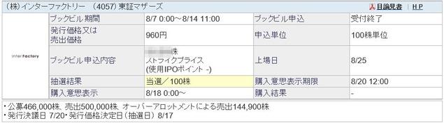 IPO インターファクトリー(4057