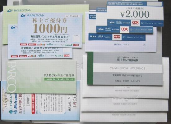 株主優待:吉野家パルコ、ジーフット、コックス