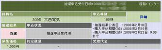 IPO:大西電気 当選