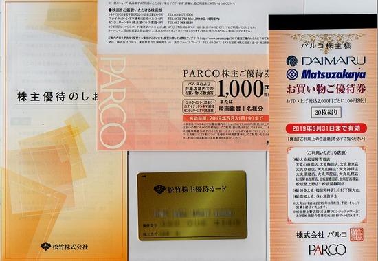 株主優待:パルコ・松竹