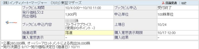 IPO インティメート・マージャー