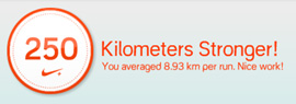 250Km達成おめでとうウインドウのアップ