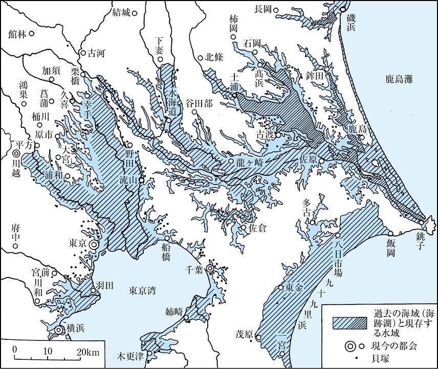 関東平野の旧海岸線