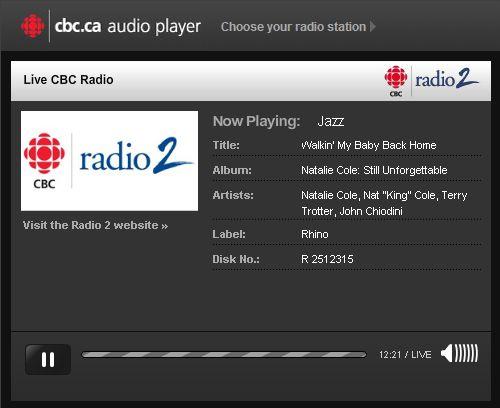 『Live cbc RADIO』プレーヤ部