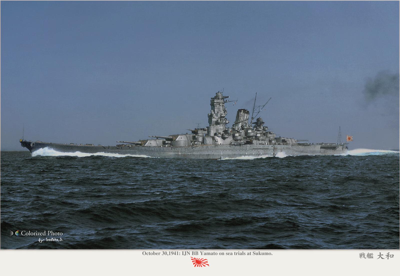 まるで要塞のような戦艦大和の壁紙