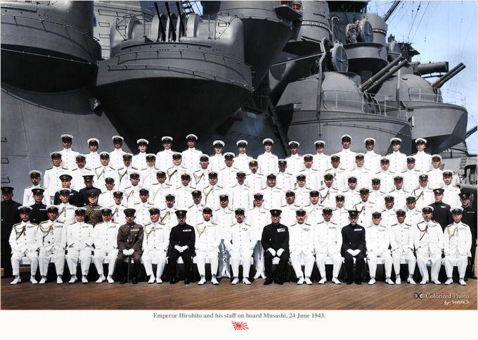 Emperor Hirohito and his staff on board Musashi_01