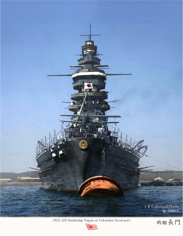 真正面の戦艦長門の壁紙
