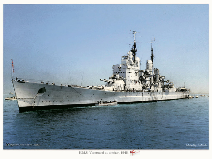 HMS_Vanguard_at nchor_1946