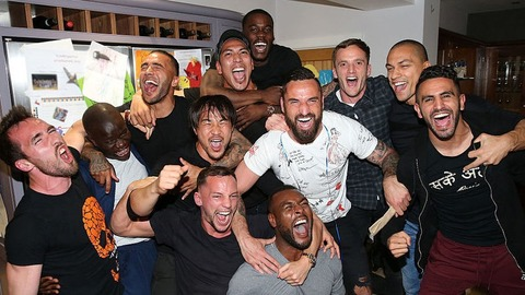 Leicester city players at Vardy's party