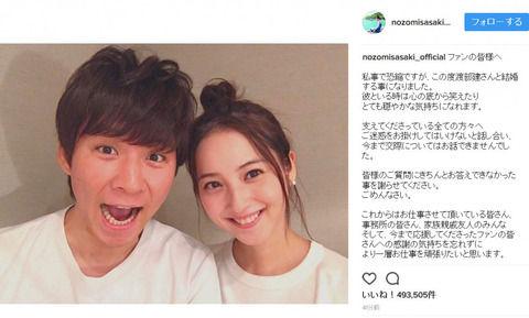 【悲報】佐々木希、ブログで結婚を報告!「彼といる時はとても穏やかな気持ちになれます」ってよwwwwwww