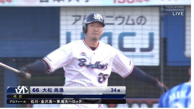 【速報】代打大松初ヒットでサヨナラのチャンスを演出!試合は延長戦へ突入