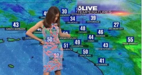 【放送事故】天気予報で美人女子アナのドレスが透け透けになるってよwwwwwww