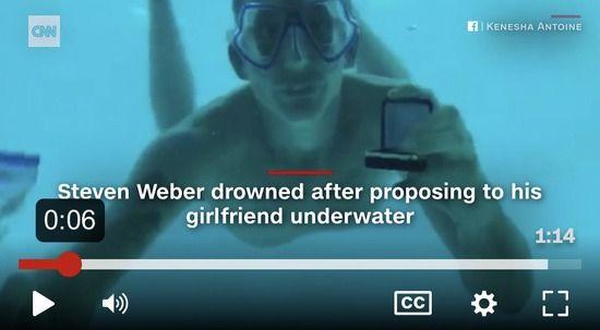 【悲報】水中プロポーズに成功した男性、そのまま溺れて死亡