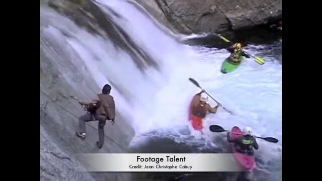 カヤックごと滝壺の水流に巻き込まれ、抜け出せなくなってしまう事故映像が恐ろしい