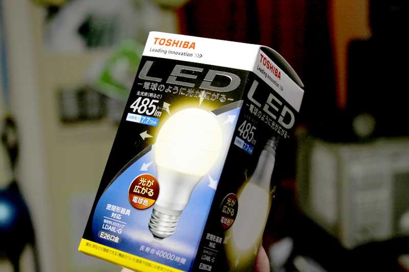 LED電球を試してみました(TOSHIBA LDA8L-G)