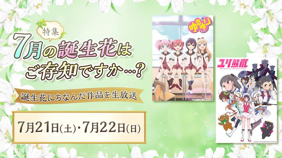 7月の誕生花特集 7月21日・22日は『niconico』で『ゆるゆり』と『ユリ熊嵐』の一挙放送!