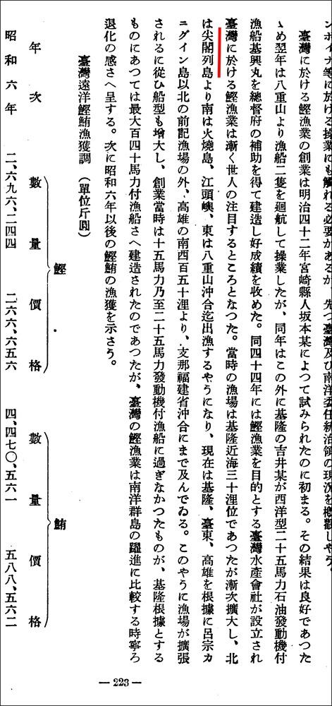 本邦海洋漁業の現勢1939尖閣