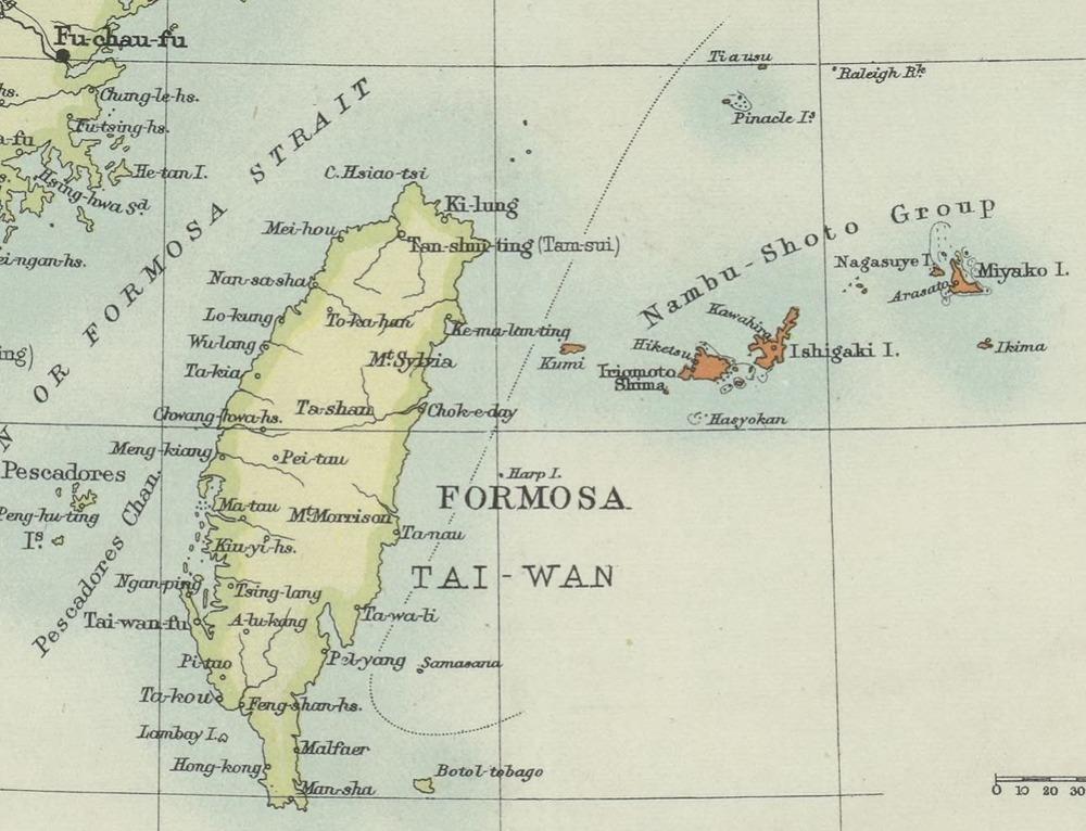 1895尖閣Bartholomews_special_Map_China_Japan_and佛國圖書館