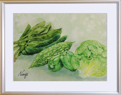 松本直次 2020-07「緑の野菜」(A4)