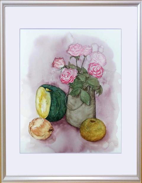 松本直次 2018-09「バラ、野菜、梨」額装