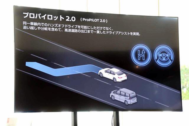 プロパイロット2.0では、ハンズオフドライブだけでなく、高速道路の出口まで運転をアシストする機能も備える。