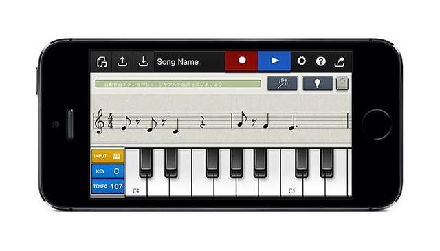 画面の鍵盤を弾く方法、画面の五線譜上に音符を配置する方法でも、モチーフを入力できる
