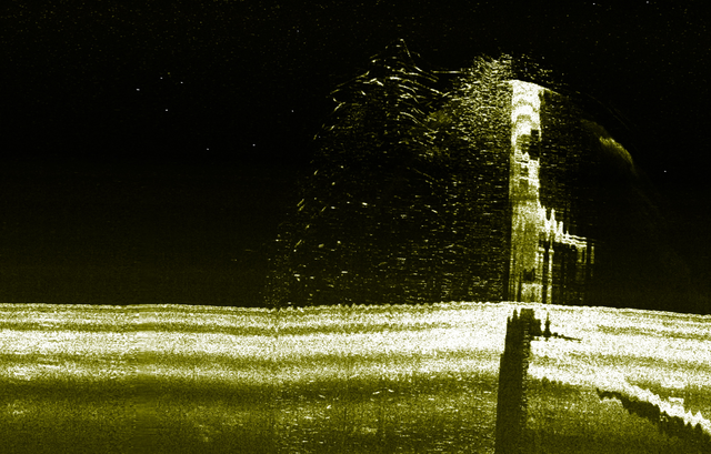 伊58と推測されるソナー画像