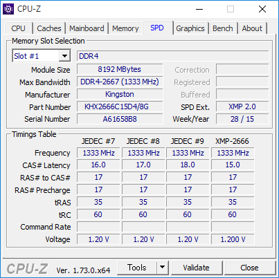 CPU-ZでもXMPプロファイルを確認できる。