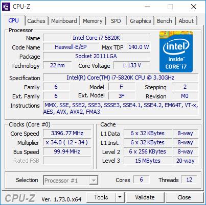 検証に使用したのはIntel Core i7-5820K