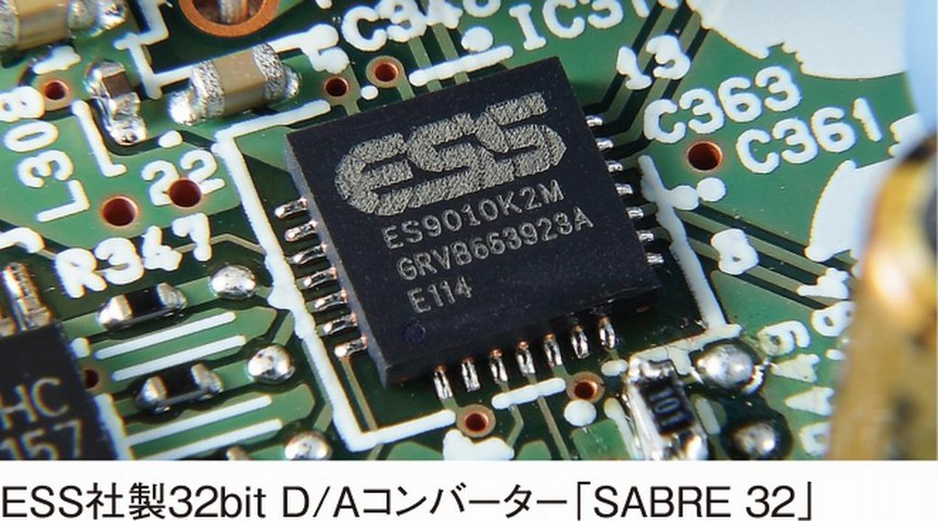 米ESSテクノロジー製の「SABRE 32」D/Aコンバーター(ES9010K2M)を採用