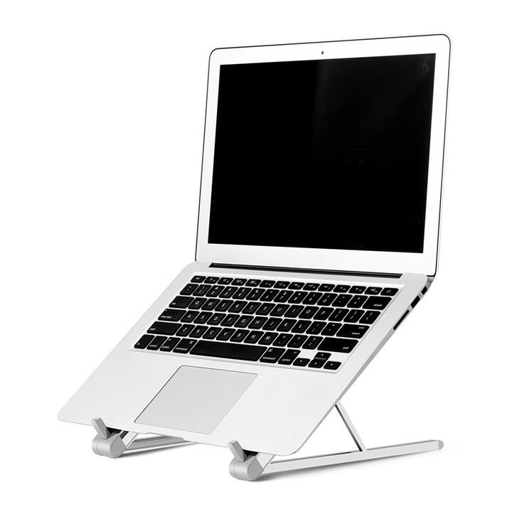 モニター位置を高めにでき、ノートPCやタブレットの持ち歩きに便利なアルミ合金製折りたたみノートPCスタンド