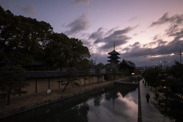 お堀から撮影した東寺の美しい朝焼け