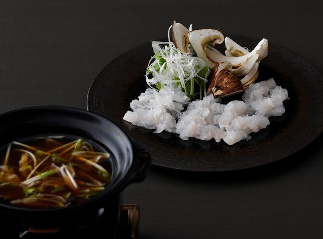 名残り鱧と松茸のしゃぶしゃぶ 煎り大豆と赤味噌のお出汁