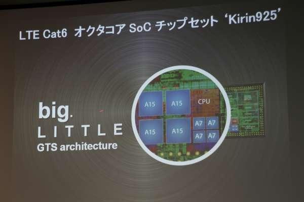 「ARM Cortex-A15/1.8GHz」と「Cortex-A7/1.3 GHz」で構成された8コアプロセッサー