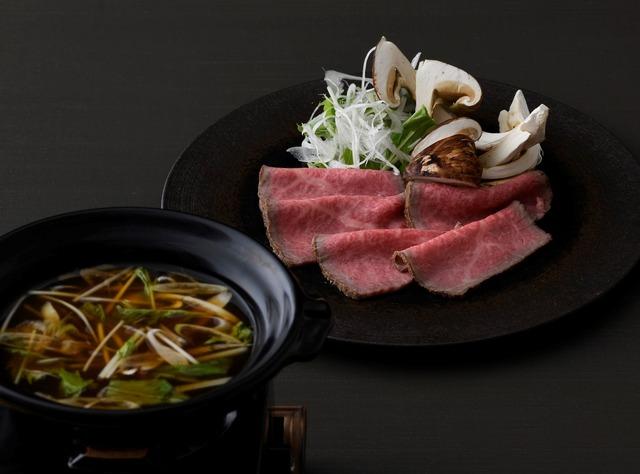 特選和牛ローストと松茸のしゃぶしゃぶ 煎り大豆と赤味噌のお出汁