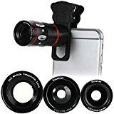 Excelvan スマホカメラレンズキット ユニバーサルレンズ 魚眼レンズ マクロレンズ 望遠レンズ ワイドレンズ 装着便利なクリップ式 iphone6/iphone6 plus/iphone5s/iphone5/ipad/Androidなど対応 (ブラック)