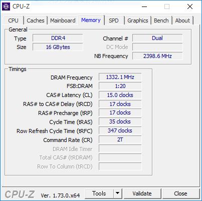 デュアルチャネル時(16GB、XMP2666設定)