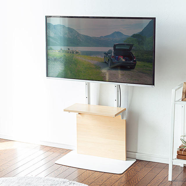"""Photo of TV stand """"100-PL019"""" with a wall-mounted installation with a stylish and refreshing design from Sanwa Supply"""