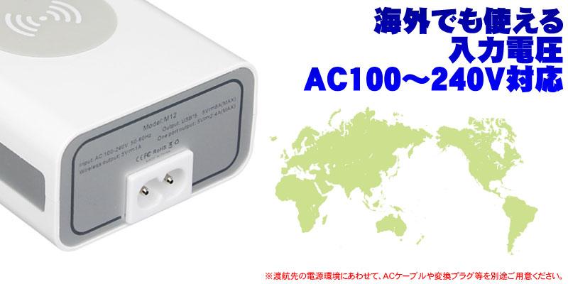 ユニバーサルタイプなので100V~240Vの範囲内であれば世界中で使える。