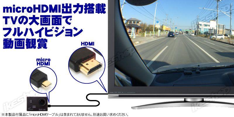 「HDMI-microHDMIケーブル」を使って外部出力が可能。